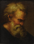 Fine Art - Painting, European:Other , After RUBENS. Head Of An Old Man. Oil on panel. 5 x 4in.(unframed). Paris export stamp to verso. Aquired by the previou...