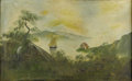 Fine Art - Painting, American:Antique  (Pre 1900), AMERICAN SCHOOL, Early to Mid Nineteenth Century. PrimativeHudson River Landscape. Oil on canvas. Unsigned. ...