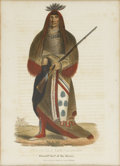 American:Portrait & Genre, THOMAS L. MCKENNEY and JAMES L. HALL. Wa Na Ta, The Charger -Grand Chief Of The Souix. Hand-colored stone lithograph. F...