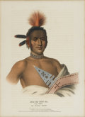 American:Portrait & Genre, THOMAS L. MCKENNEY and JAMES L. HALL. Moa Na Hon Ga, GreatWalker - An Ioway Chief. Hand-colored stone lithograph. From...