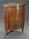Furniture , A MARQUETRY CORNER CABINET. Early-Nineteenth Century. The marble top bowed corner cabinet on legs with bronze mounts, with... (Total: 1 Item Item)