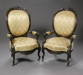 Furniture , A PAIR OF AMERICAN VICTORIAN ARM CHAIRS. Circa 1870. A pair of American Victorian pierced rosewood carved and upholstered ... (Total: 2 Items Item)