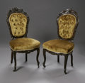 Furniture , A PAIR OF AMERICAN VICTORIAN CARVED SIDE CHAIRS. The finely carved, upholstered mahogany side chairs with tufted backs, su... (Total: 2 Items Item)