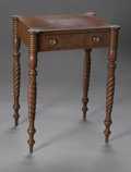 Furniture , AN AMERICAN ONE DRAWER STAND. American, Nineteenth Century. The one drawer stand with spiral legs, cookie corners, brass m... (Total: 1 Item Item)