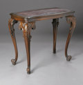 Furniture , AN AMERICAN CARVED AND INLAID SIDE TABLE. The carved side table with cabriole feet and inlaid top. 24.75in. high x 28.25in... (Total: 1 Item Item)