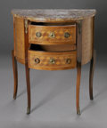 Furniture , A PARQUETRY COMMODE WITH MARBLE TOP. Maker unknown. The two drawer commode of demilune shape with parquetry inlay, marble ... (Total: 1 Item Item)