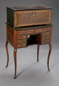 Furniture : American, THE AMERICAN MUSIC BOX WITH STAND. The cylindrical music box withmarquetry top depicting bird and foliage with stand. The...