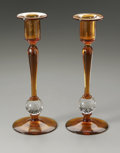 Art Glass:Steuben, A PAIR OF AMERICAN CANDLESTICKS. Attributed to Steuben. The pair ofbubble release candlesticks, unmarked. 10.5in. high. ... (Total: 2Items)
