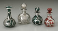 Art Glass:Other , Four Glass And Silver Perfume Bottles. Maker unknown, TwentiethCentury. The four glass bottles of various sizes, over... (Total: 4Items)