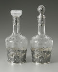 Art Glass:Other , A Pair Of French Silver And Glass Decanters. French, EarlyTwentieth Century. The etched glass with sterling mounts de...