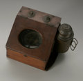 Other:American, AN ANTIQUE SHIP COMPASS WITH ORIGINAL WOODEN CASE. Maker Unknown. Aship compass in original wooden box, with oval glass w...