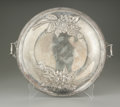 Other:American, An American Silver-Plate Tray. Wm Mounts, Early Twentieth Century.The double handled round tray with raised sunflower...