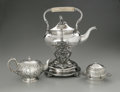 Other:American, A GROUP OF SILVER ITEMS AND TEA ITEMS. Various Makers. A repousseglobular tea pot with hinged lid and ivory band (6in. hi... (Total:4 Items)