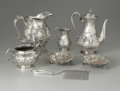 Other:American, A GROUP OF SILVER SERVING ITEMS. Various makers. The group ofrepousse serving items including a water pitcher, a coffee s...(Total: 6 Items)