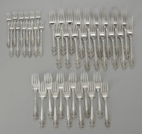 A SET OF SILVER FLATWARE Whiting Manufacturing Co.  The group of sterling flatware, all by Whiting