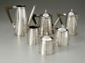 Other:American, An American Silver Tea Service. John o. Bellis, Early TwentiethCentury. The seven piece hammered finish service with ... (Total: 6Items)