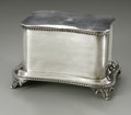 Other:European, A Silver-Plate Biscuit Box. Maker unknown, Early Twentieth Century.The rectangular silver-plate biscuit box raised on...