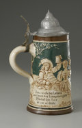 Ceramics & Porcelain, Continental:Modern  (1900 1949)  , A German Beer Stein. Albert Jacob Thewalt, Germany, Early TwentiethCentury. The beer stein with a raised image of peo...