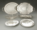 Other:American, Five Silver-Plate Trays And A Basket. Gorham and Various Makers,Twentieth Century. Comprising two double handled oval... (Total: 6Items)