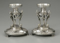 Other:European, A Pair Of English Silver-Plate Candle Stands. Maker unknown, 1881.The neo-classical style candle stands, English Regi... (Total: 2Items)