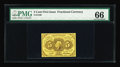 Fractional Currency:First Issue, Fr. 1230 5¢ First Issue PMG Gem Uncirculated 66. A reasonablyavailable 5¢ First Issue note in a seldom encountered premium ...