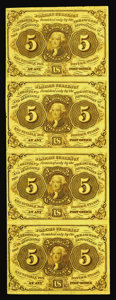 Fractional Currency:First Issue, Fr. 1230 5¢ First Issue Vertical Strip of Four Very Choice New. There are a few handling marks, but all four notes on this l...