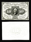 Fractional Currency:First Issue, Milton 1DP10F.1 and 1DP10R.1 10¢ First Issue Trial-Color Die Proof.Both the face and back are uniface proof printings on so... (Total:2 notes)