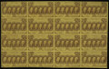 Fractional Currency:First Issue, Fr. 1281 25c First Issue Full Sheet of Sixteen Gem New. The widesheet selvage has been cut off, leaving normal, nice-sized ...