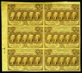Fractional Currency:First Issue, Fr. 1281 25c First Issue Uncut Block Of Six About New. A vertical fold between the notes and a pre-printing crinkle in the t...