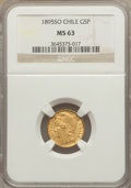 Chile, Chile: Republic gold 5 Pesos 1895-So MS63 NGC,...