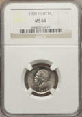 Haiti, Haiti: Republic 5 Centimes 1905 MS65 NGC,...