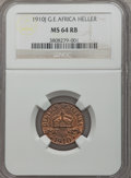 German East Africa, German East Africa: German Colony Heller 1910-J MS64 Red and Brown NGC,...
