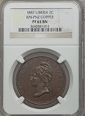 Liberia, Liberia: Republic Proof Pattern 2 Cents in copper 1847 PR62 BrownNGC,...
