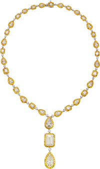 Diamond, Colored Diamond, Platinum, Gold Necklace, Oscar Heyman Bros