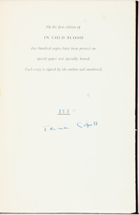 [Featured Lot] Truman Capote. SIGNED/LIMITED. In Cold Blood. New York: Random House, [1965]. Fi