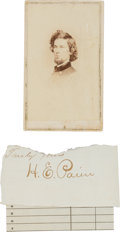 Photography:CDVs, Union General Halbert E. Paine Carte de Visite and Clipped Signature.... (Total: 2 )
