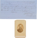Photography:CDVs, Union General Charles Harker Document Signed and Carte de Visite.... (Total: 2 )