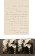 Photography:Stereo Cards, Clara Barton Autograph Letter Signed and Stereoview.... (Total: 2 )