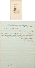 Photography:CDVs, Confederate General Raleigh E. Colston Carte de Visite and Civil War-dated Endorsement Signed.... (Total: 2 )