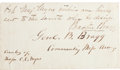 Autographs:Military Figures, Confederate General Braxton Bragg Autograph Military Pass Signed...