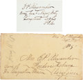 Autographs:Military Figures, Confederate General Edward P. Alexander Twice Signed Envelope and Signed Card.... (Total: 2 )