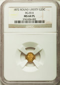 California Fractional Gold , 1872 25C Liberty Round 25 Cents, BG-814, High R.5, MS64 ProoflikeNGC....