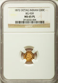 California Fractional Gold , 1872 50C Indian Octagonal 50 Cents, BG-939, Low R.5, MS65 ProoflikeNGC....