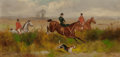 Fine Art - Painting, European:Antique  (Pre 1900), HENRY CALVERT (British, 1798-1879). Scenes from the Hunt(four works). Oil on canvas. 8 x 16 inches (20.3 x 40.6 cm). Th...(Total: 4 Items)