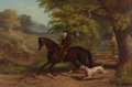 Paintings, JAMES HILL (19th Century). A Young Man on his Hack with his Dalmatian, 1871. Oil on canvas. 24-1/4 x 36-1/4 inches (61.6...
