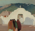 Paintings, VICTOR HIGGINS (American, 1884-1949). The White Gate, 1919. Oil on canvas. 18-1/8 x 20-1/4 inches (46.0 x 51.4 cm). Sign...