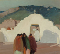 VICTOR HIGGINS (American, 1884-1949) The White Gate, 1919 Oil on canvas 18-1/8 x 20-1/4 inches (4