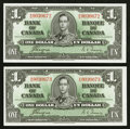 Canadian Currency: , BC-21d $1 1937, Two Consecutive Examples. ... (Total: 2 notes)