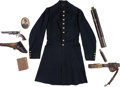 Military & Patriotic:Civil War, Cavalry Officer's Grouping Containing Frock Coat, 1851 Colt Navy Revolver, Holster, Sword Belt and Telescopes to Captain Luman...