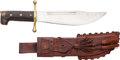 Edged Weapons:Knives, Collins Bowie Knife and Fringed Leather Scabbard....